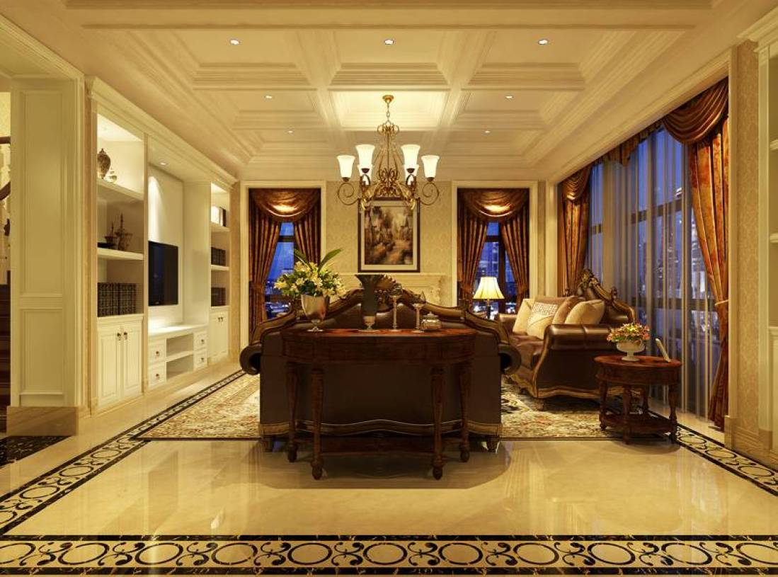 欧式风格复式楼客厅吊顶装修效果图图片