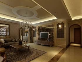 美式风格客厅电视背景墙装修效果图-美式风格茶几图片