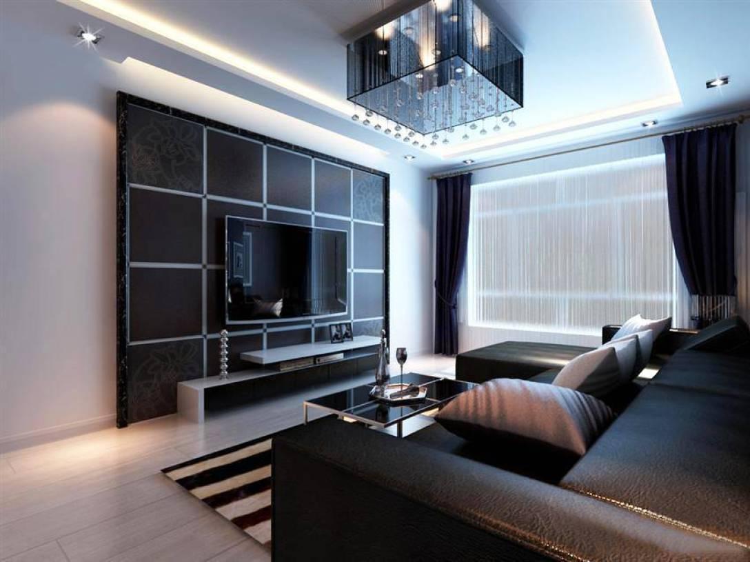 70平米后现代风格客厅电视背景墙装修效果图,后现代风格黑色沙发图片