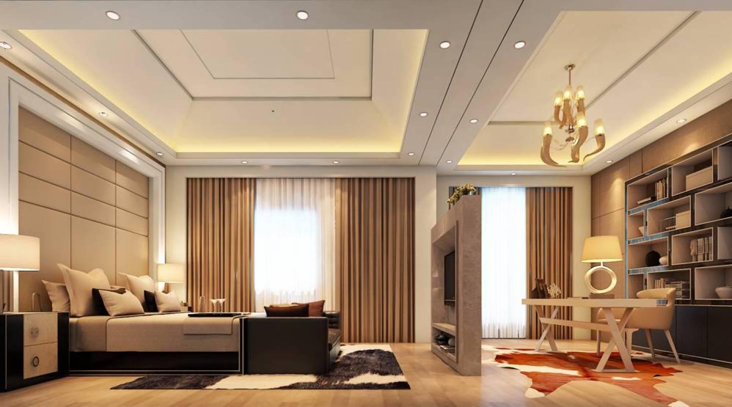 280m现代风格别墅卧室吊顶装修效果图,现代风格床头柜图片