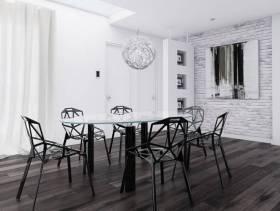 70㎡两室一厅现代风格餐厅背景墙装修效果图-现代风格餐椅图片