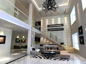 现代风格楼中楼客厅背景墙装修效果图-现代风格台灯图片