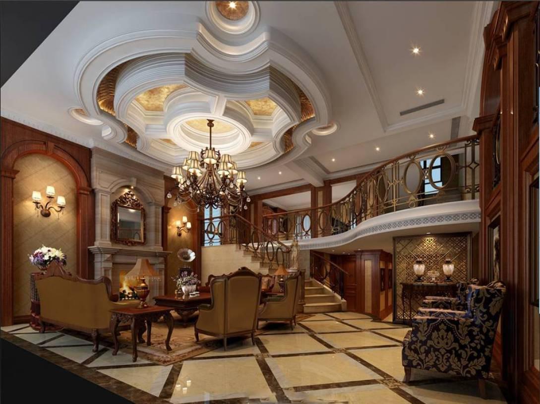 美式风格楼中楼客厅吊顶装修效果图-美式风格边几图片