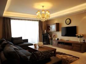 简约欧式风格客厅电视背景墙装修图片-简约欧式风格实木电视柜图片