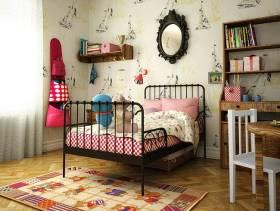 美式乡村风格小平米儿童卧室壁纸装修效果图-美式乡村风格儿童书柜图片