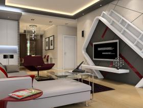 现代风格客厅电视背景墙装修效果图-现代风格客厅沙发图片