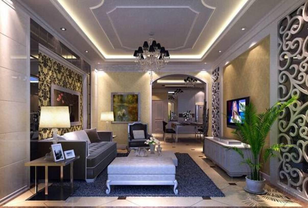 简欧风格客厅灰镜雕花电视背景墙装修效果图-简欧风格