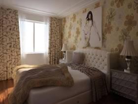 简欧风格卧室背景墙装修图片-简欧风格双人床图片