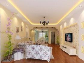 120m²三居室田园风格电视墙装修效果图-田园风格电视墙图片