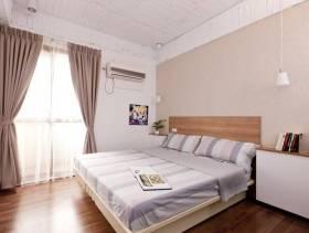 简约风格小卧室背景墙装修图片-简约风格双人床图片
