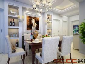 138㎡三居室简约欧式风格餐厅背景墙装修效果图-简约欧式风格实木餐桌图片