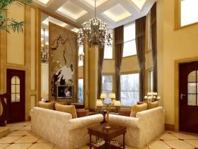 大空间别墅挑空客厅电视背景墙侧面整体设计效果图
