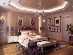 101㎡三居室简欧风格卧室床头背景墙装修效果图-简欧风格床图片