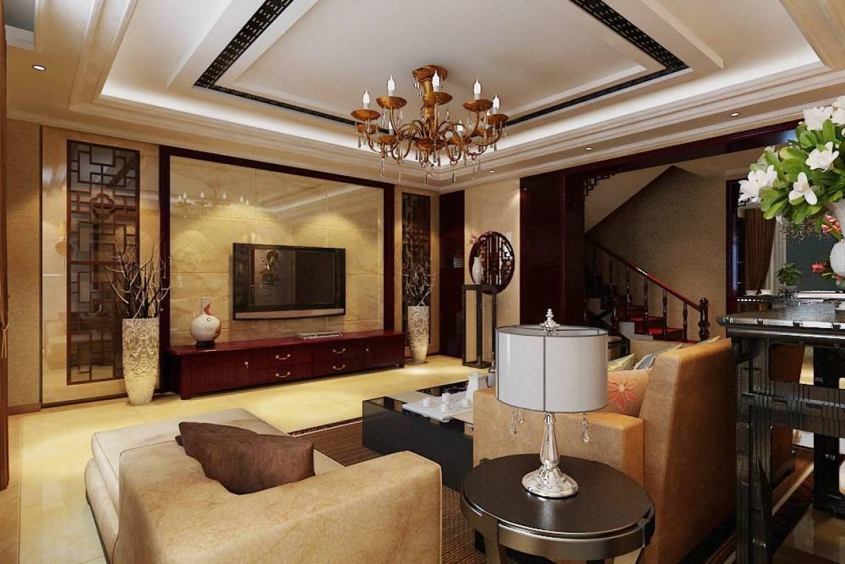 中式复式楼餐厅吊顶室内设计效果图