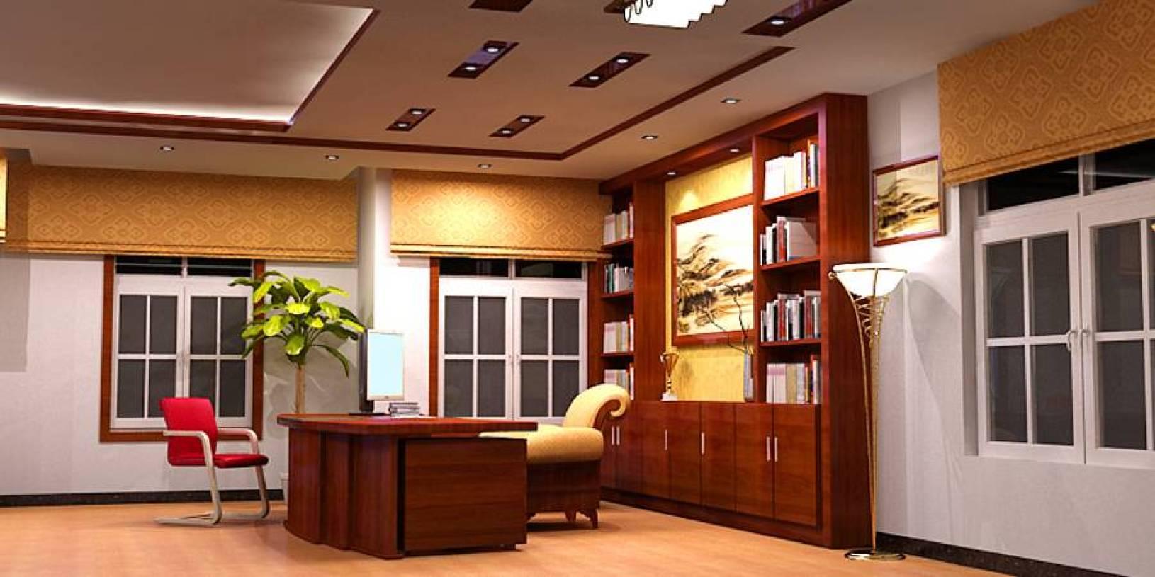 简约风格办公室背景墙装修效果图-简约风格办公椅图片