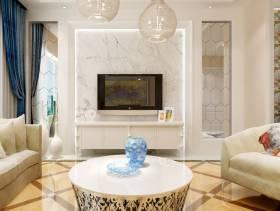 130㎡三居室现代简约风格客厅电视背景墙装修效果图-现代简约风格茶几图片