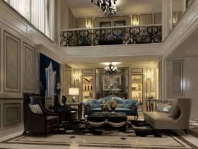 大户型别墅挑空客厅沙发背景墙装修效果图