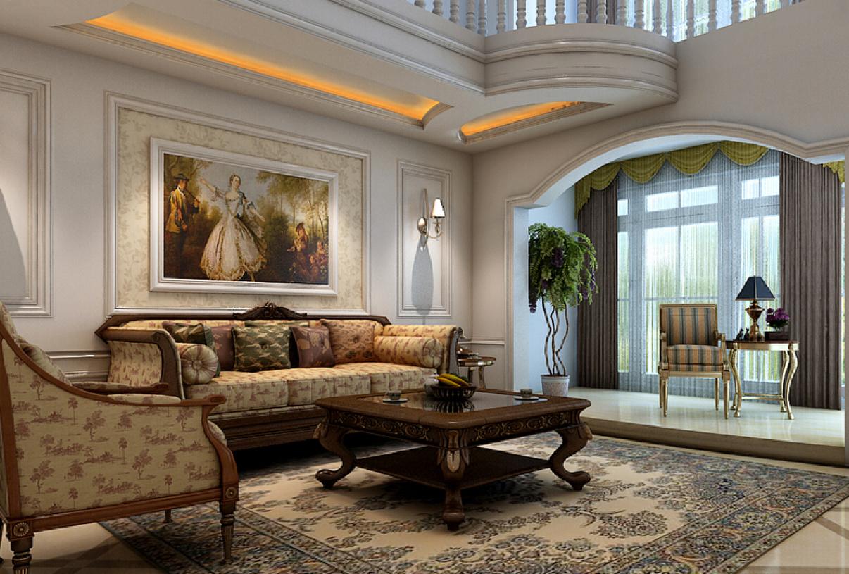 美式风格复式楼客厅沙发背景墙装修效果图-美式风格沙发图片