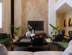 240㎡复式楼简欧风格客厅电视背景墙装修效果图-简欧风格电视柜图片