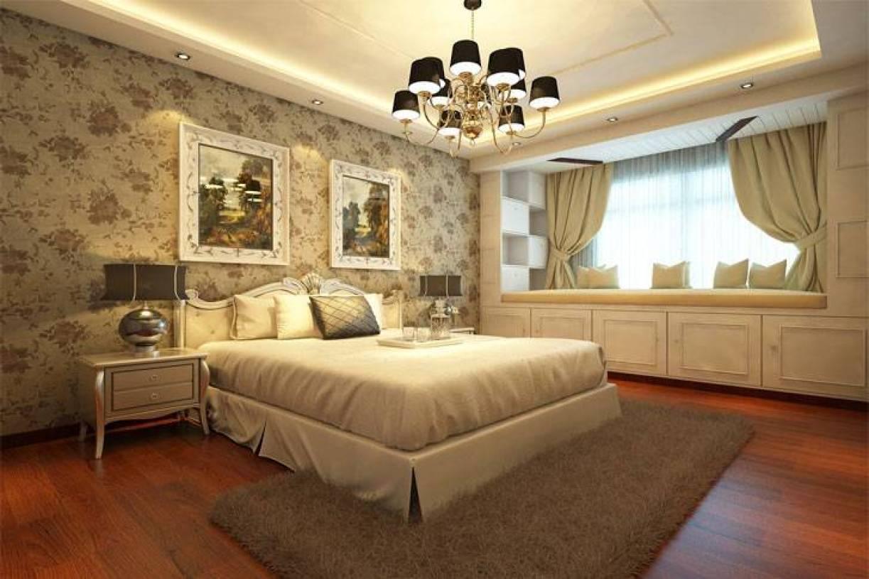 温馨奢华卧室浅色墙面壁纸装扮