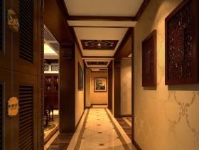 中式风格过道墙面隔断装修效果图