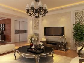 156㎡三居简约欧式风格客厅电视背景墙装修效果图-简约欧式风格风格茶几图片