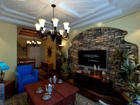 美式田园风格客厅电视背景墙装修效果图-美式田园风格吊灯图片