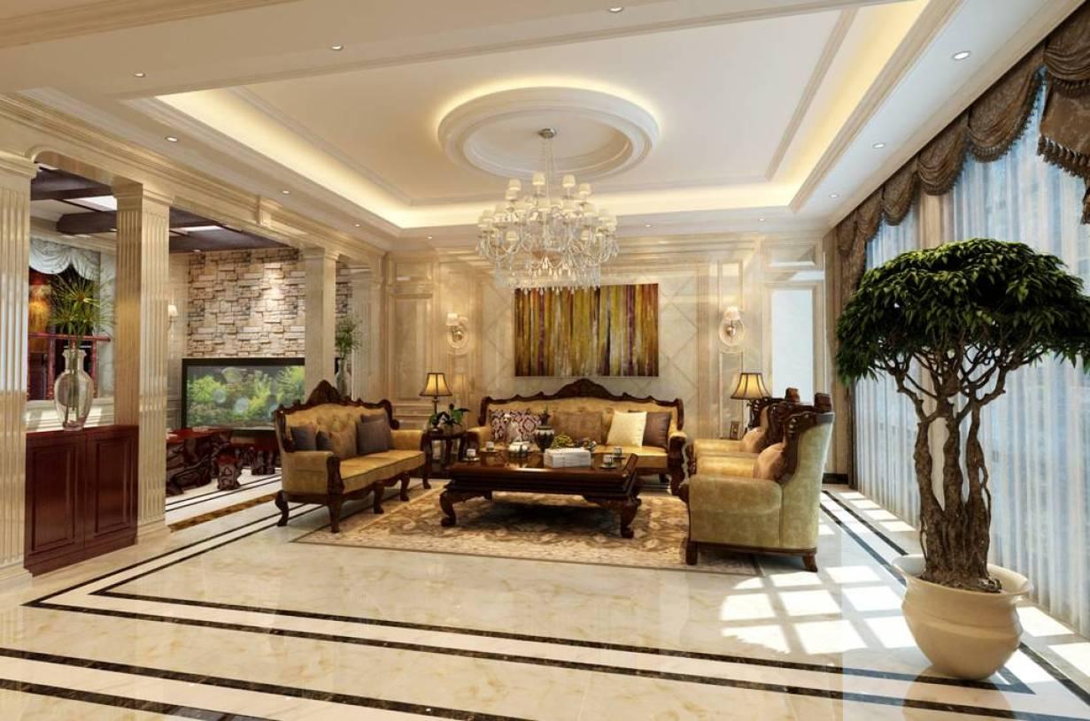 美式古典別墅客廳吊頂裝修效果圖
