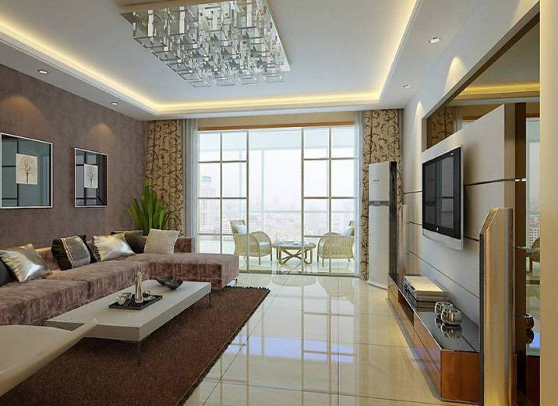 147㎡大户型简约风格客厅吊顶装修效果图-简约风格-