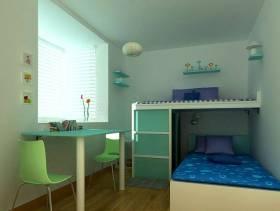 现代简约风格小卧室背景墙装修效果图-现代简约风格高低床图片