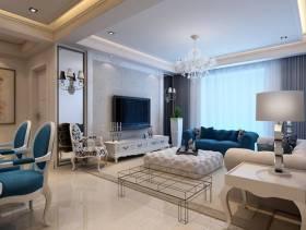 280㎡别墅简约欧式风格客厅电视背景墙装修效果图-简约欧式风格电视柜图片