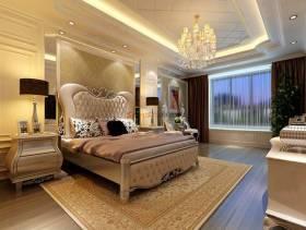 简欧风格主卧室带阳台装修效果图-简欧风格双人床图片