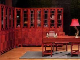 中式风格四居室书房装修效果图-中式风格转角书柜图片