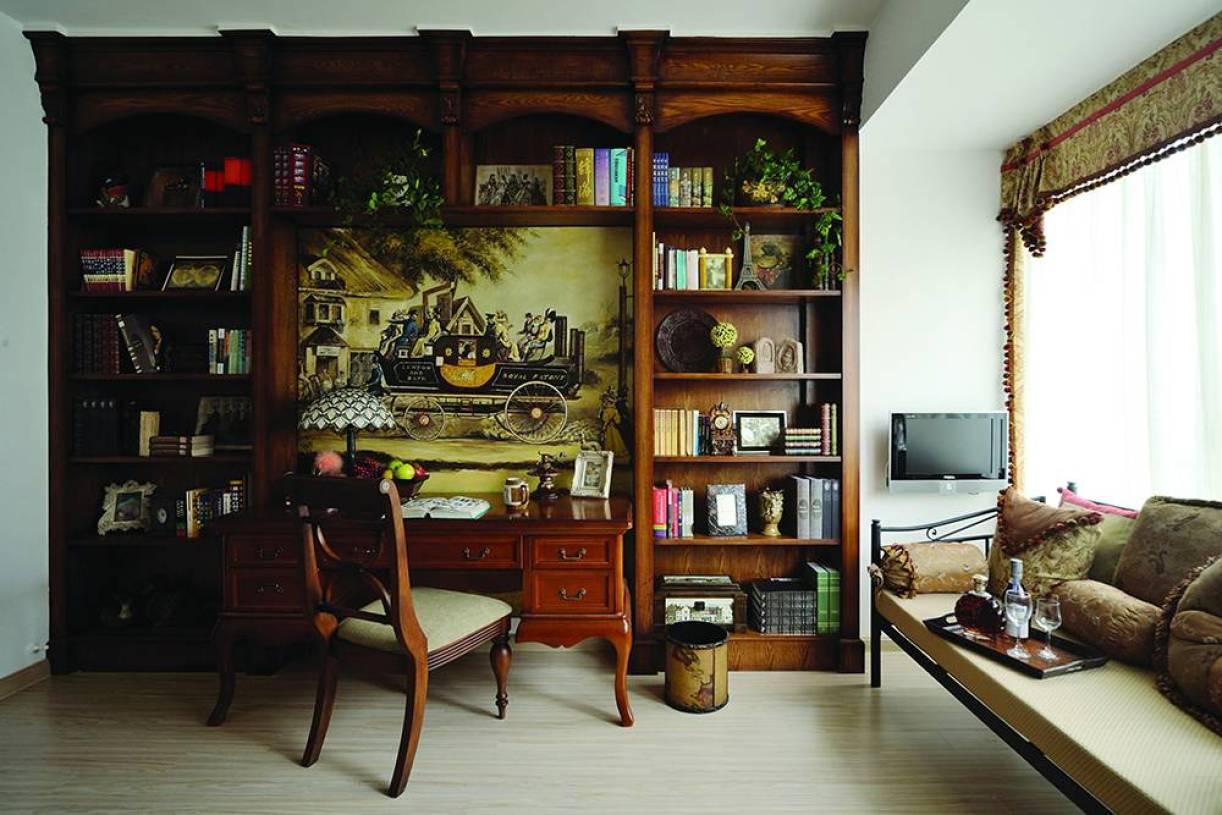 美式鄉村風格書房裝修圖片-美式鄉村風格原木書柜圖片