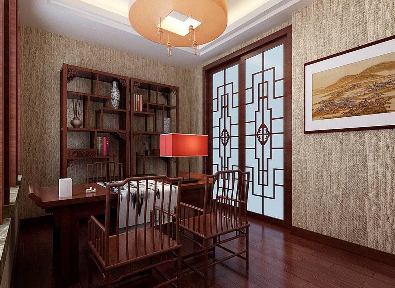 简约中式风格书房墙面壁纸装修效果图-简约中式风格书桌图片图片