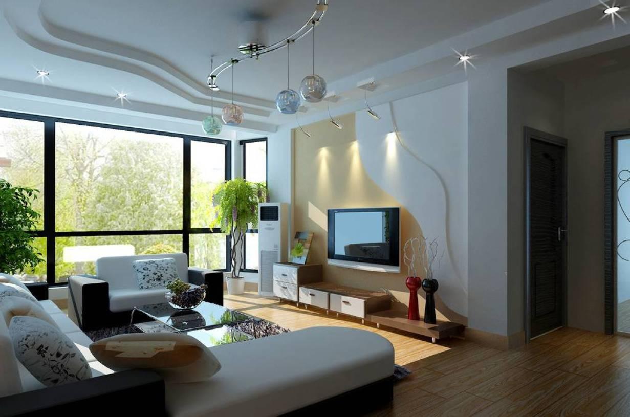 现代简约风格小户型客厅电视背景墙装修效果图-现代简约风格电视柜