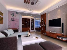 80㎡小户型简约风格客厅电视背景墙装修图片-简约风格实木电视柜图片