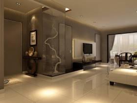 130㎡三居室新中式风格客厅电视背景墙装修效果图-新中式风格置物台图片