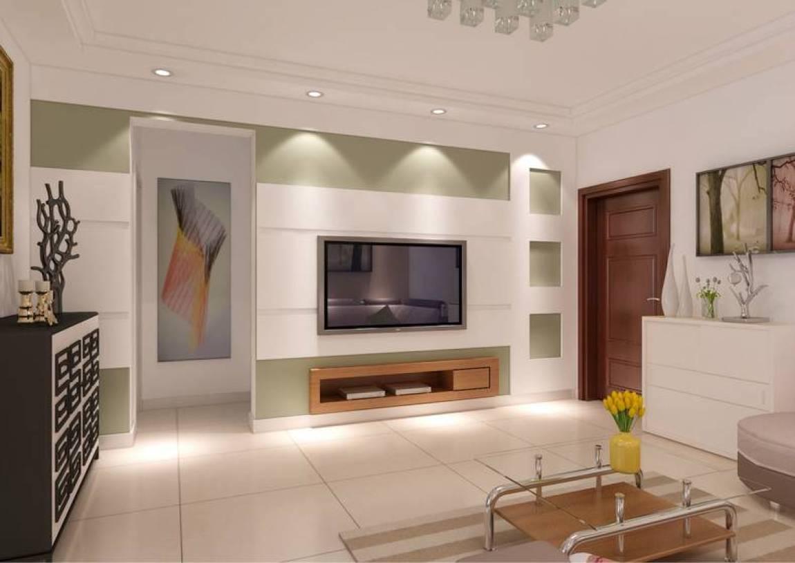 84m現代簡約風格兩室一廳客廳電視背景墻裝修效果圖,現代簡約風格電視