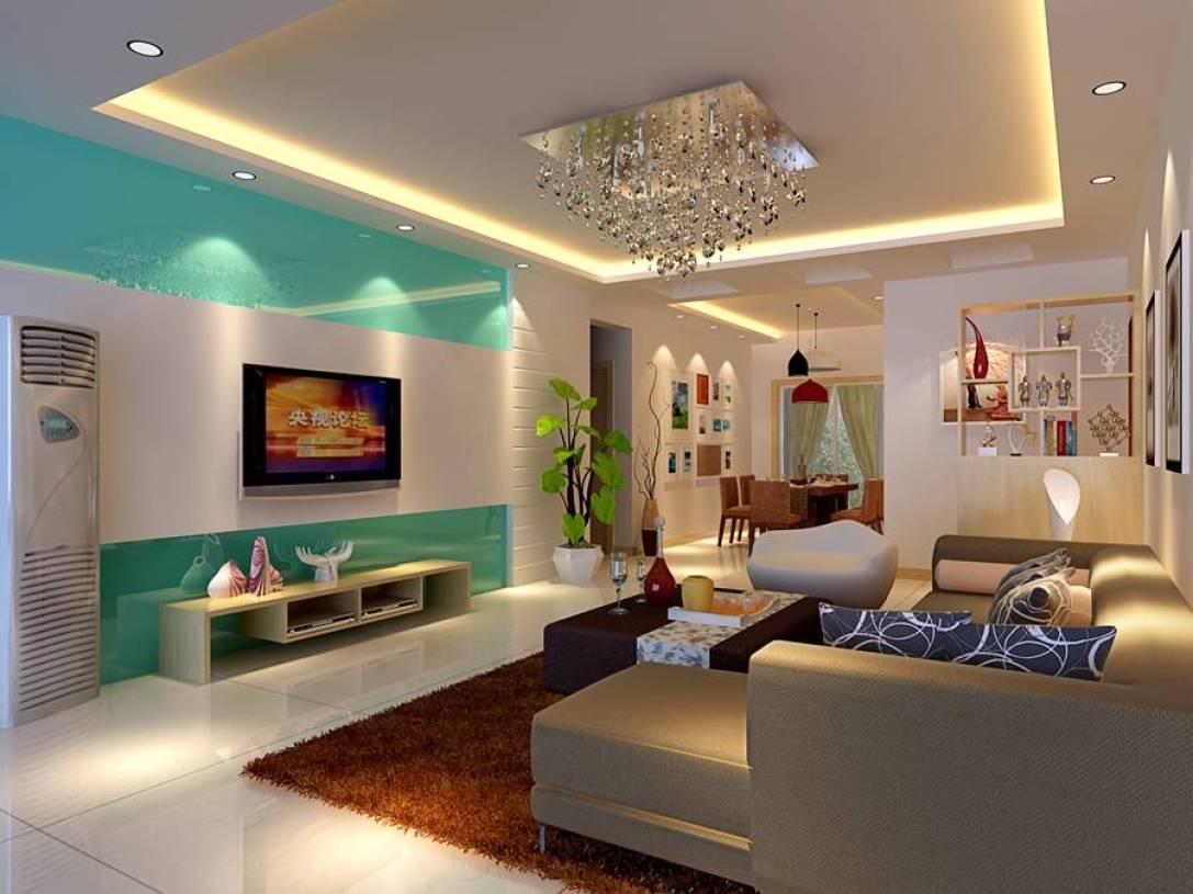 80㎡小户型现代简约风格客厅电视背景墙装修效果图-现代简约风格茶几