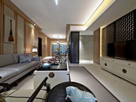 新中式风格客厅电视背景墙装修效果图-新中式风格电视柜图片