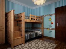 简约风格三居室卧室壁纸装修效果图-简约风格上下床图片