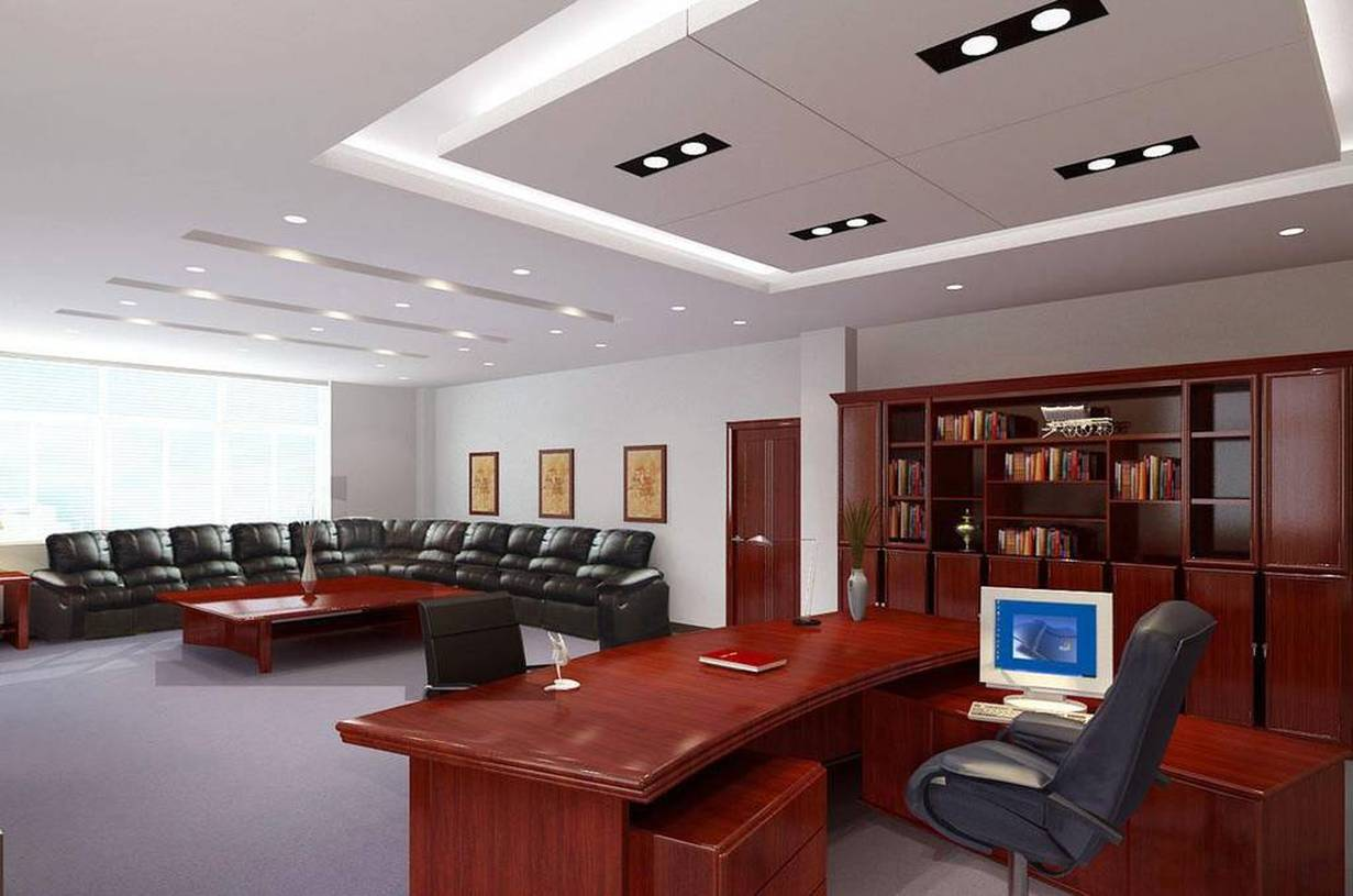 现代风格办公室矿棉板吊顶装修效果图-现代风格办公家具图片