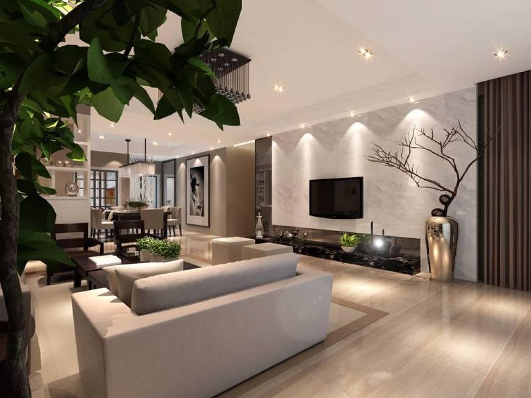 现代风格三居室客厅电视墙装修效果图