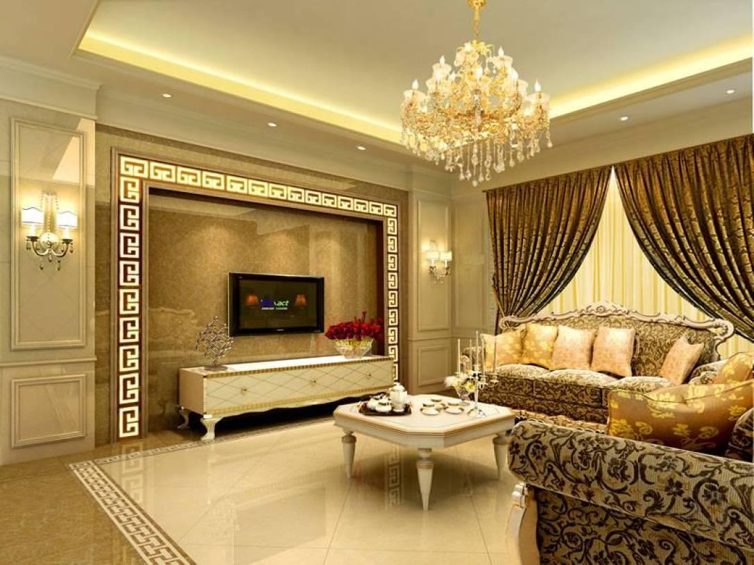 欧式风格客厅窗帘装修效果图-欧式风格水晶吊灯图片