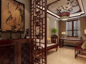 简约中式风格书房吊顶装修效果图-简约中式风格书桌图片