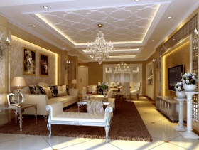 简欧风格客厅沙发背景墙装修效果图-简欧风格茶几图片