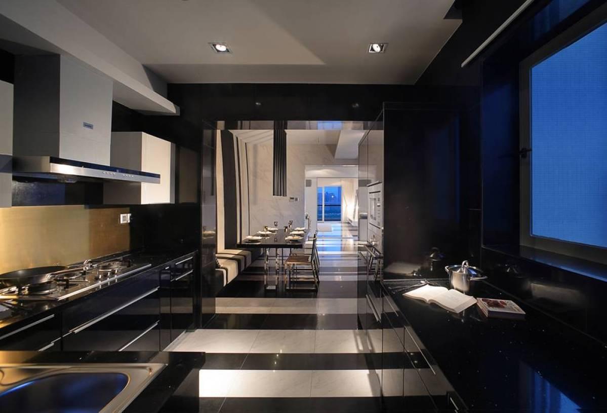 简约风格二居室开放式厨房吊顶装修图片-简约风格橱柜图片