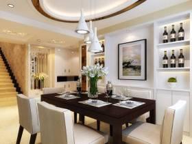 160㎡三居室现代简约餐厅吊顶装修效果图-现代简约风格酒柜图片