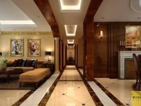 280平米别墅欧式风格客厅过道吊顶装修效果图,欧式风格多人沙发图片